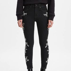 Levis 721 High Rise Black With White Floral Jeans